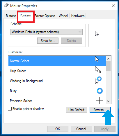 Using Mouse Pointers in Windows 10
