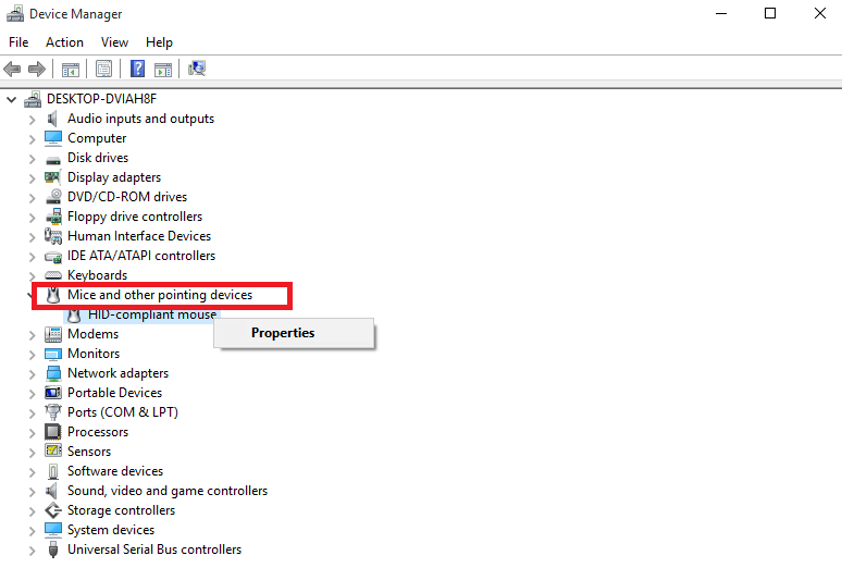 Device Manager Mouse Option