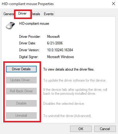 Mouse Driver Options